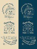 Beige and blue set of pirate-themed icons
