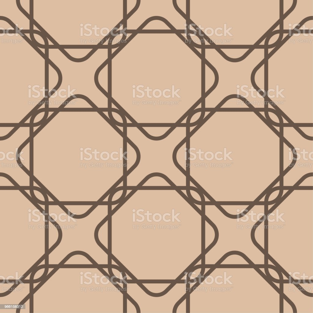 Beige and brown geometric ornament. Seamless pattern - Royalty-free Abstract stock vector