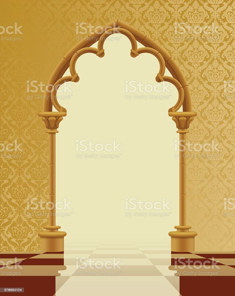 Beige And Brown Gothic Gate With Classic Decorative Background Stock ...