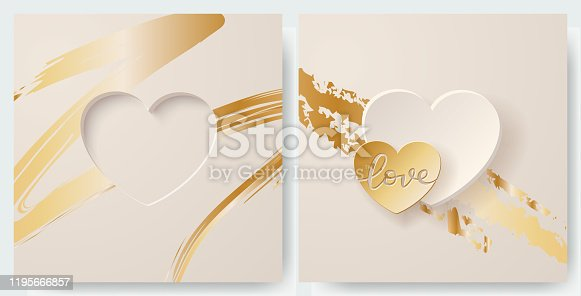 A set of simple Valentine's cards. Heart cutout on a soft off white background with gold detail. Design element for greeting cards, invitations, anniversaries...  EPS10 vector illustration, global colors, easy to modify.