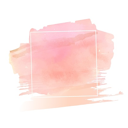 Beige and pink natural watercolor texture in a white square shape frame. Modern graphic design. Vector banner. Hand drawn monochrome design element