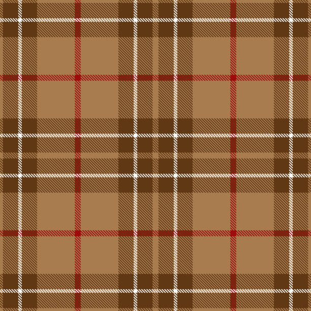 Beige And Red Scottish Tartan Plaid Textile Pattern Beige, brown, white and red Scottish tartan plaid seamless textile pattern background. tartan pattern stock illustrations