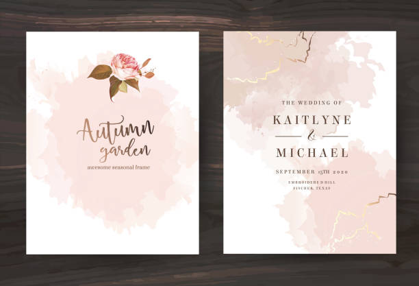 stockillustraties, clipart, cartoons en iconen met beige en rose goud aquarel stijl vector ontwerp kaarten. - save the date