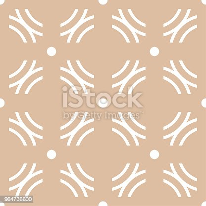 Beige And White Geometric Ornament Seamless Pattern Stock Vector Art & More Images of Abstract 964736600