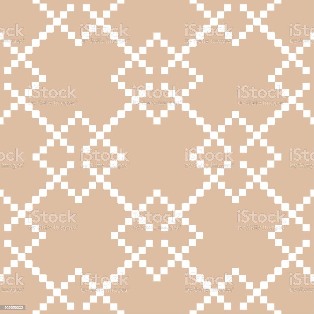 Bege E Branco Impressão Geométrica. Padrão Sem Emenda Ilustração De Bege E  Branco Impressão Geométrica