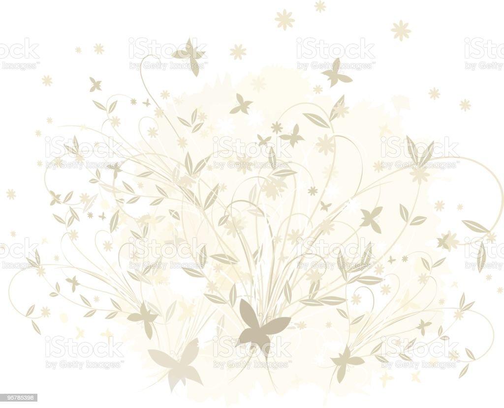 Beige butterfly garden royalty-free stock vector art