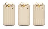 Set of three rustic beige cardboard cards. Vector eps-10.