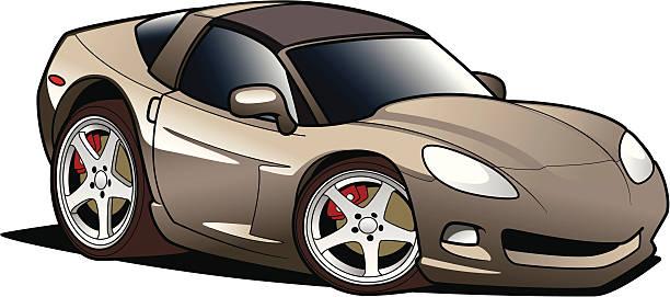 Beige cartoon sports car illustration vector art illustration