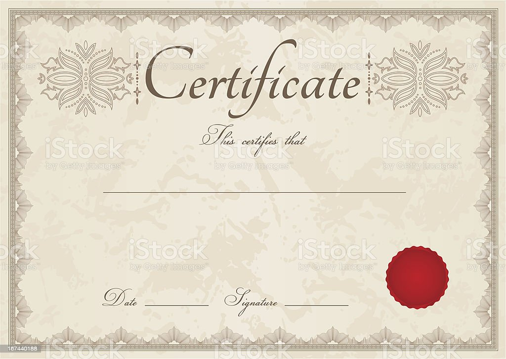 Beige certificate / diploma of completion (template) with guilloche border vector art illustration
