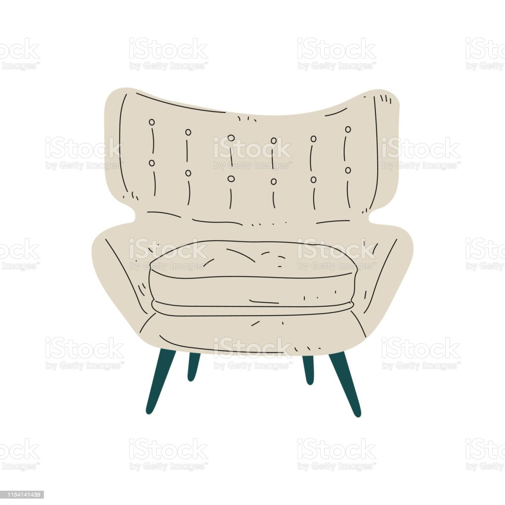 Beige Comfortable Armchair, Cushioned Furniture with Upholstery,...