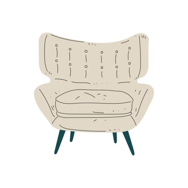beige bequemer sessel, gepolsterte möbel mit polster, innenarchitektur element vector illustration - leinensofa stock-grafiken, -clipart, -cartoons und -symbole