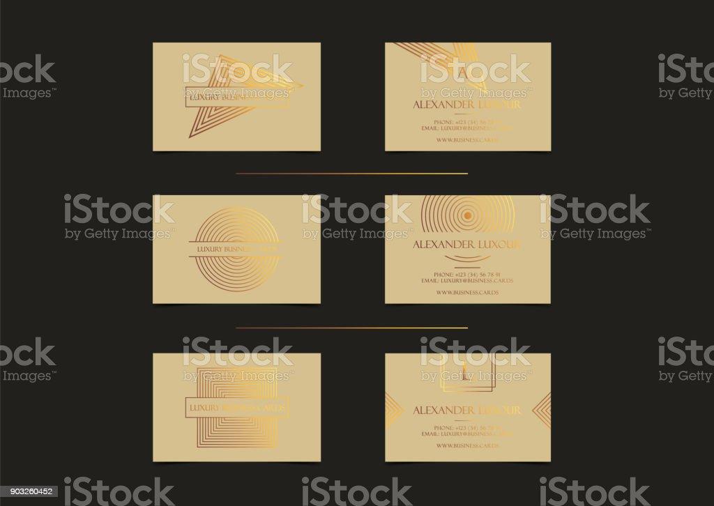 Cartes De Visite Or Luxe Beiges Pour Evenement VIP Elegante Carte Voeux Avec Motif