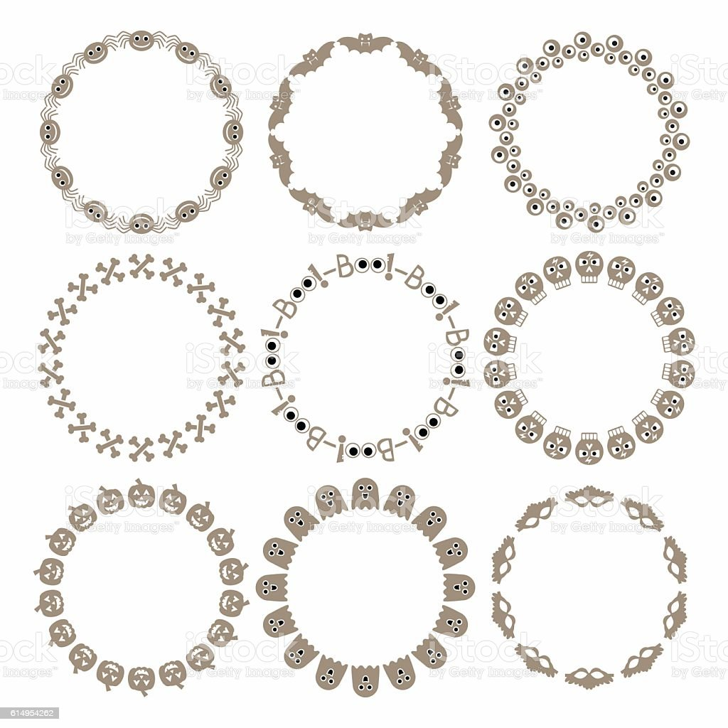 Schon Beige Halloween Circle Border Pattern Emblems Set On White Ilustração De  Beige Halloween Circle Border Pattern