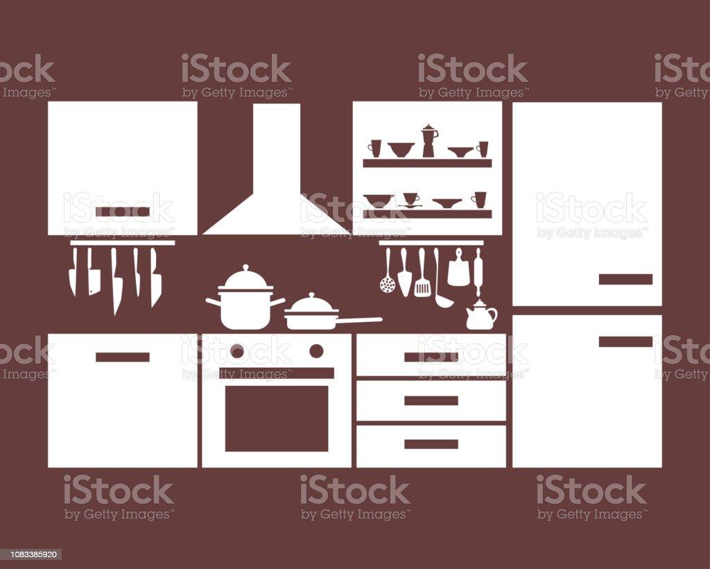 Beige Kuchenmobel Mit Gerichten Auf Burgund Hintergrund Stock Vektor Art Und Mehr Bilder Von Ausrustung Und Gerate Istock