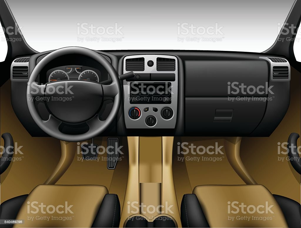 Beige leather car interior - inside view of truck, dashboard vector art illustration