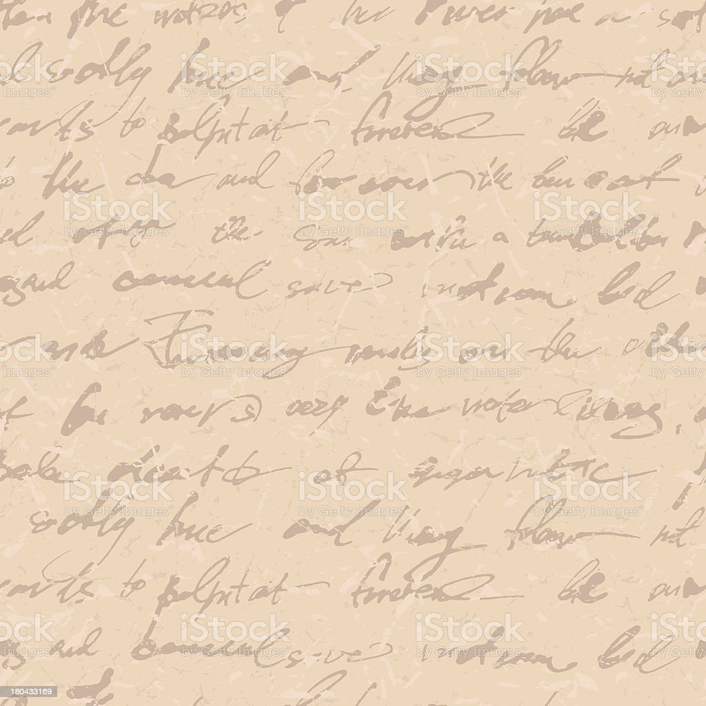 Beige paper with tan handwritten text  vector art illustration