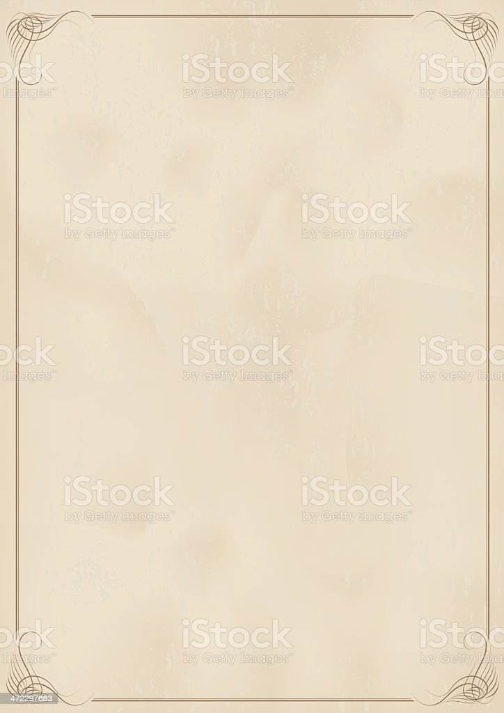 Beige stationary with a fancy border royalty-free stock vector art