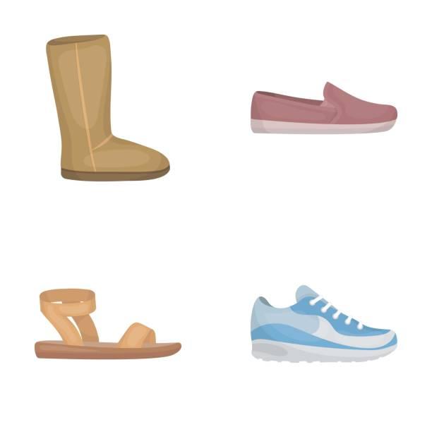 beige ugg stiefel mit fell, braune loafer mit einer weißen sohle, sandalen mit einem verbindungselement, weiße und blaue turnschuhe. schuhe stellen sammlung icons im cartoon stil vektor symbol lager abbildung web. - pelzmäntel stock-grafiken, -clipart, -cartoons und -symbole