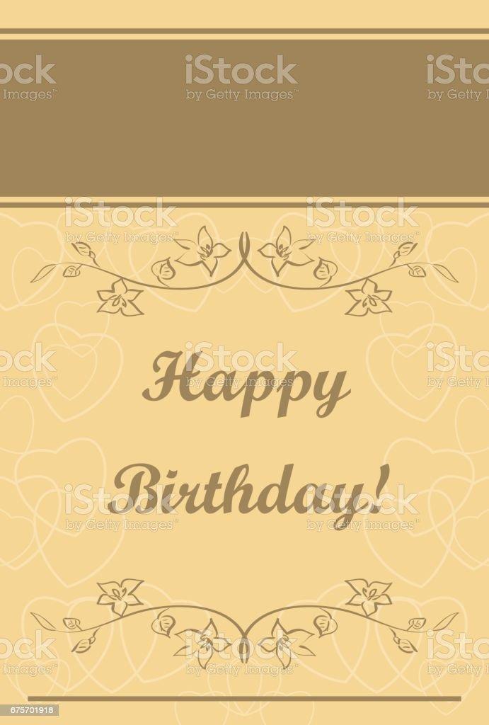 米色的向量賀卡-生日快樂 免版稅 米色的向量賀卡生日快樂 向量插圖及更多 事件 圖片