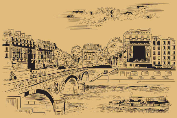 Beige vector hand drawing Paris 7 Vector hand drawing Illustration of Pont Saint Michel bridge (Paris, France). Landmark of Paris. Cityscape with Saint Michel bridge and Paris street. Vector hand drawing illustration in black color isolated on beige background. seine river stock illustrations