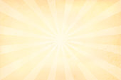 Pale yellowish sunburst - vector background . The origin or center/ centre of the sunburst is in the middle of the frame. Thin stripes. Very light. Textured. Copy space. Grungy backdrop. Apt for Xmas, New Year, birthday party wallpaper/ background.