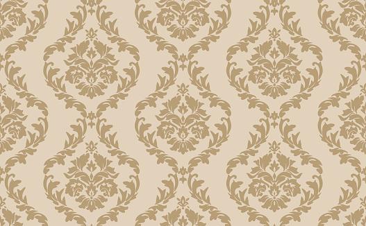 Beige Victorian Damask Luxury Pattern