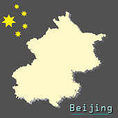 Beijing - Capital of China - map illustration with stars