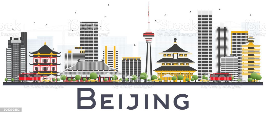 Beijing China City Skyline with Gray Buildings Isolated on White Background. vector art illustration