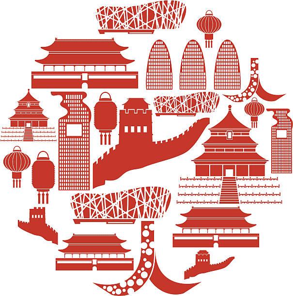 Beijing Icon Set vector art illustration