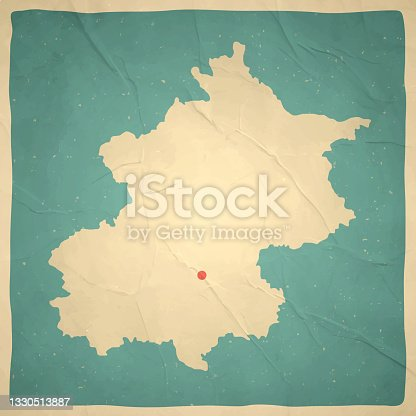 istock Beijing map in retro vintage style - Old textured paper 1330513887