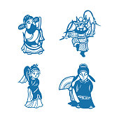 istock Beijing opera characters(Chinese traditional paper-cut art) 1288196040