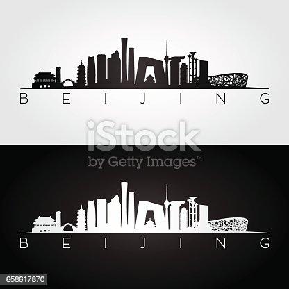 istock Beijing skyline and landmarks silhouette 658617870
