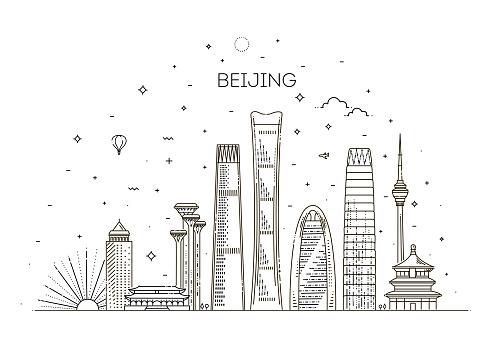Beijing skyline with panorama in sky background