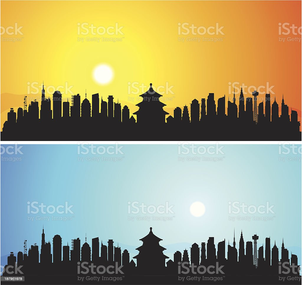 Beijing (Each Building is Moveable and Complete) royalty-free stock vector art