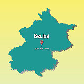Beijing-Capital of China map illustration - you are here sign - headquarters of cctv illustration - vector