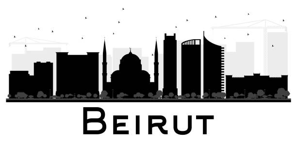 beirut city skyline black and white silhouette. - beirut stock illustrations