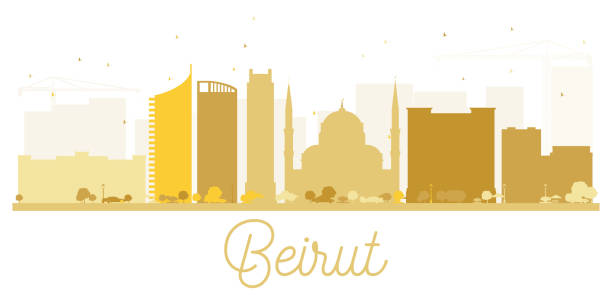 beirut city skyline golden silhouette. - beirut stock illustrations