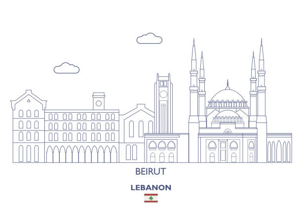 beirut city skyline, lebanon - beirut stock illustrations