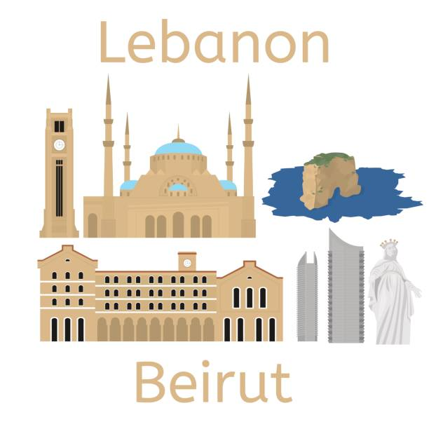 beirut city skyline silhouette. flat lebanese tourism icon banner, postcard. lebanon travel concept. cityscape with landmarks architecture. - beirut stock illustrations