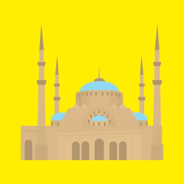 beirut city skyline silhouette. flat lebanese tourism icon banner, postcard. lebanon travel concept. cityscape with landmarks architecture. mosque - beirut stock illustrations