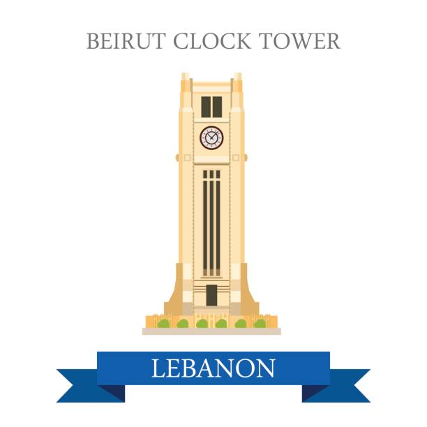 beirut clock tower in lebanon. flat cartoon style historic sight showplace attraction web site vector illustration. world countries cities vacation travel sightseeing asia collection. - beirut stock illustrations