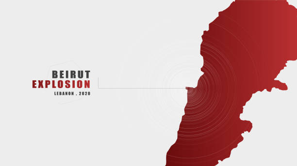 beirut explosion message with map on gray background; design for news and advertising;after beirut explosion; vector illustration. - beirut explosion stock illustrations