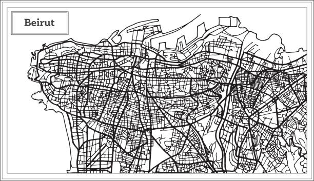 beirut lebanon city map in black and white color. - beirut stock illustrations