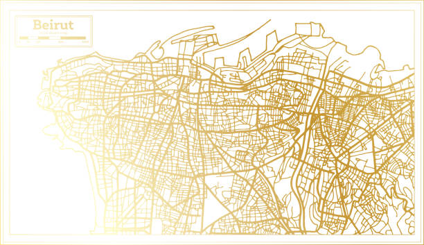 beirut lebanon city map in retro style in golden color. outline map. - beirut stock illustrations