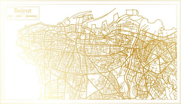 貝魯特黎巴嫩城市地圖復古風格在金色。大綱圖。 - beirut 幅插畫檔、美工圖案、卡通及圖標