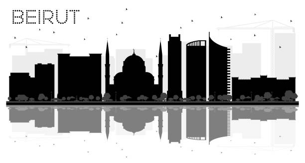 beirut lebanon city skyline black and white silhouette. - beirut stock illustrations