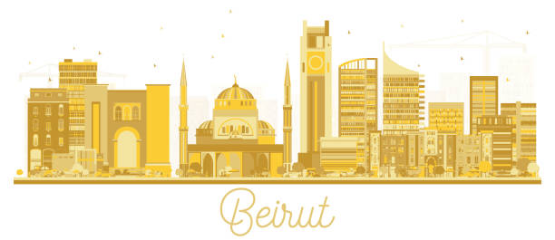 beirut lebanon city skyline golden silhouette. - beirut stock illustrations