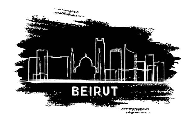 beirut lebanon city skyline silhouette. hand drawn sketch. - beirut stock illustrations