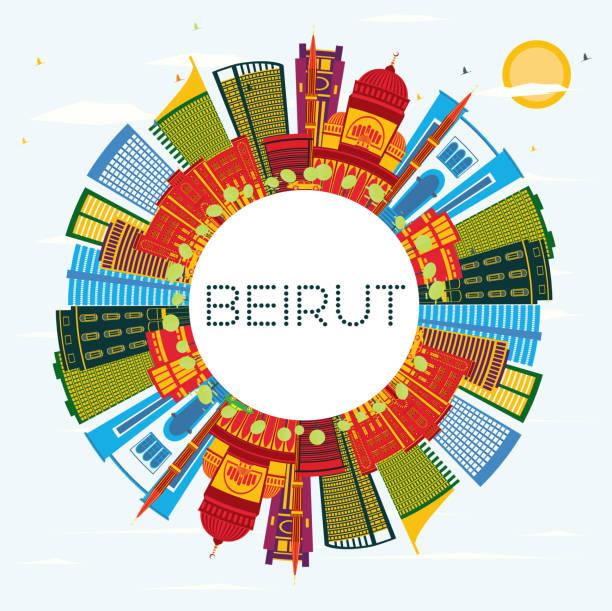 beirut libanon stadt skyline mit farbe gebäuden, blauer himmel und textfreiraum. - beirut stock-grafiken, -clipart, -cartoons und -symbole