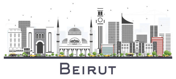 beirut lebanon city skyline with gray buildings isolated on white. - beirut stock illustrations